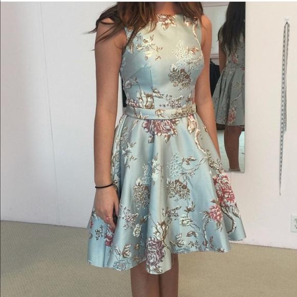Mac Duggal Dresses | Blue Brocade Floral Ieena Mac Duggal Dress | Poshmark
